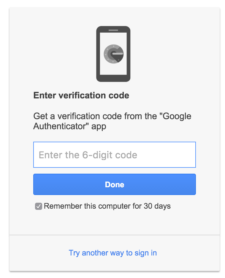 Google Authenticator code entry for Google Mail